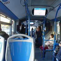 LAC車内。グラナダで唯一バス停案内のモニターがある